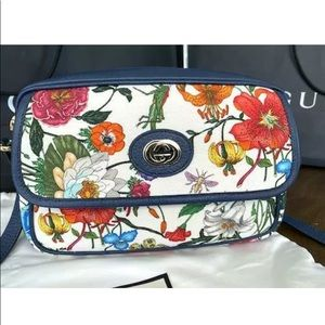 GUCCI Womens Flora Canvas and Blue Leather Handbag